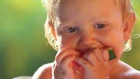Baby girl eat watermelon stock video