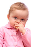 Baby girl eating bread Stock Photography