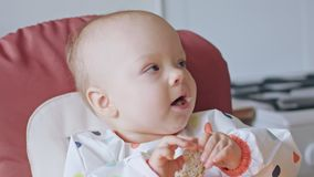 A Baby Girl Eating Bread at Home stock footage