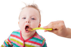 Baby girl eating. Stock Photography