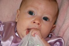 Baby Girl Eating Dress royalty free stock photo