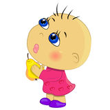 Baby girl eating fruits illustration Stock Image