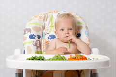 Baby girl eating raw food. Baby girl sitting in a highchair eating raw, seasonal vegetables: carrots, beans, peas, celery Stock Images