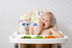 Baby girl eating raw food. Baby girl sitting in a highchair eating raw, seasonal vegetables: carrots, beans, peas, celery Royalty Free Stock Photography
