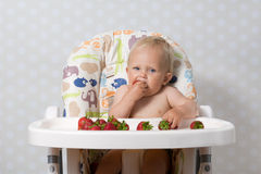 Baby girl eating strawberries. Baby girl sitting in a highchair eating fresh strawberries Royalty Free Stock Photos