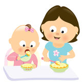 Baby girl eating w mom watching her Stock Photography