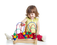 Baby girl with educational toy Stock Photo