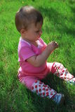Baby girl. Eight-month baby girl sitting on a green grass stock photo