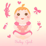 Baby girl element. New born baby girl element gift card Royalty Free Stock Images