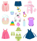 Baby girl elements Royalty Free Stock Photography