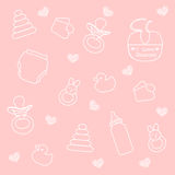 Baby girl elements Royalty Free Stock Photos