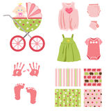 Baby girl elements Royalty Free Stock Images