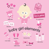Baby Girl Elements. Illustration of various baby girl items Royalty Free Stock Image