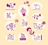 Baby girl elements set Royalty Free Stock Photography