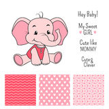 Baby girl elephant design with seamless patterns Royalty Free Stock Photo