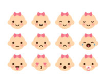 Baby Girl Emoticons Royalty Free Stock Photo