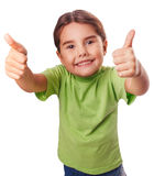 Baby girl emotions raised her thumbs up smiling Royalty Free Stock Photo