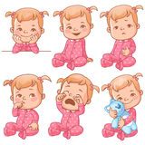 Baby girl emotions set Royalty Free Stock Photography