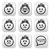 Baby girl faces, avatar  buttons set Royalty Free Stock Photography