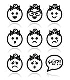 Baby girl faces, avatar  icons set Royalty Free Stock Photography
