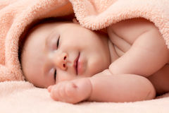 Baby girl falling asleep Royalty Free Stock Image