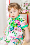 Baby girl in a fashionable suit Royalty Free Stock Images