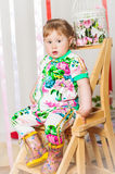 Baby girl in a fashionable suit Stock Image