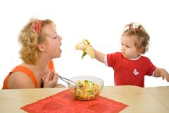 Baby Girl Feeding Mom Royalty Free Stock Photo