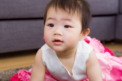 Baby girl feel curiosity Royalty Free Stock Image