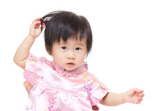 Baby girl feeling hesitation Royalty Free Stock Photography