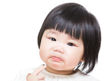 Baby girl feeling unhappy Stock Photo