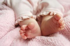 Baby Girl Feet Close Up Stock Photography