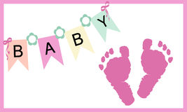 Baby girl feet prints greeting card vector Stock Photo