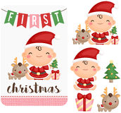Baby Girl First Christmas Vector Set. A vector set of baby girl first christmas Stock Photo