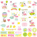 Baby Girl Flamingo Scrapbook Set. Decorative elements. Baby Girl Flamingo Scrapbook Set. Vector Scrapbooking. Decorative Elements. Baby Tags. Baby Labels Royalty Free Stock Photo