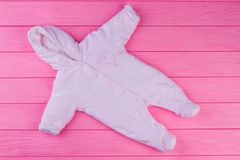 Baby girl fleece coverall, top view. royalty free stock image