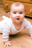 Baby girl on floor Stock Photos