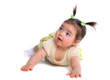 Baby girl on the floor Royalty Free Stock Photos