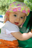 Baby Girl in Floral Summer Hat Royalty Free Stock Photography
