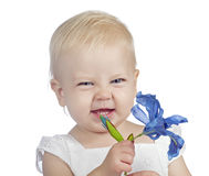 Baby girl with flower Stock Photos