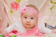 Baby Girl on Flower Blanket Royalty Free Stock Image