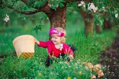 Baby girl in flowering spring gardens apple Royalty Free Stock Images