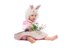 Baby girl with flowers Royalty Free Stock Images
