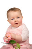 Baby Girl with flowers Stock Photo