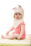 Baby girl in fluffy bunny hat Royalty Free Stock Photography