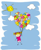 Baby girl flying in a balloon. Royalty Free Stock Photography