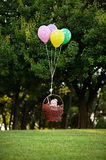 Baby girl flying in a basket on the balloons on a background of Stock Images