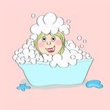 Baby-girl in foam illustrtion Stock Photos