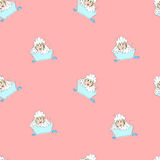 Baby-girl in foam seamless pattern Royalty Free Stock Photography