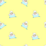 Baby-girl in foam seamless pattern Stock Photography